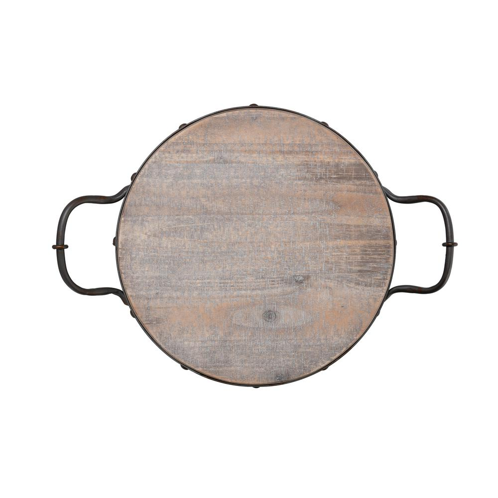 20 in. Round Wood Tray with Metal Handles