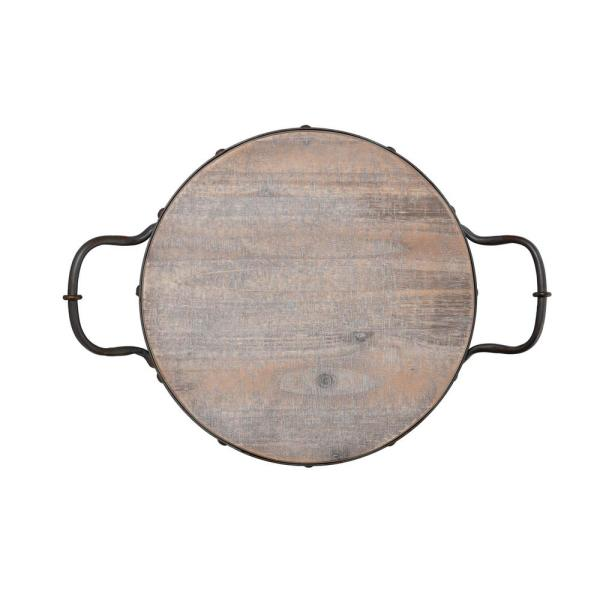 d58f3e29c8 Elements 20 in. Round Wood Tray with Metal Handles 5230321 - The ...