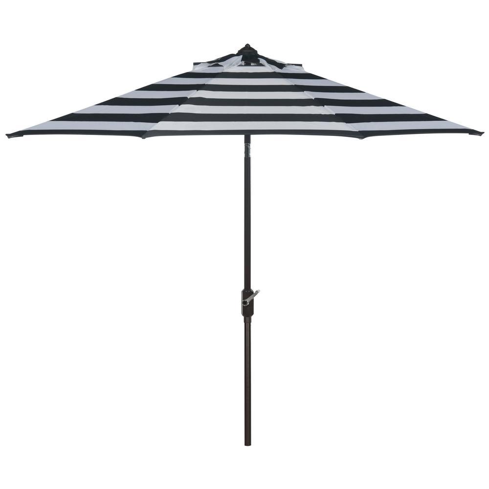 Iris 9 ft. Aluminum Market Auto Tilt Patio Umbrella in Black/White