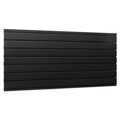 Bold Series 22.75 in. H x 48 in. W Steel Slat Wall Panel Set in Black, Garage Backsplash