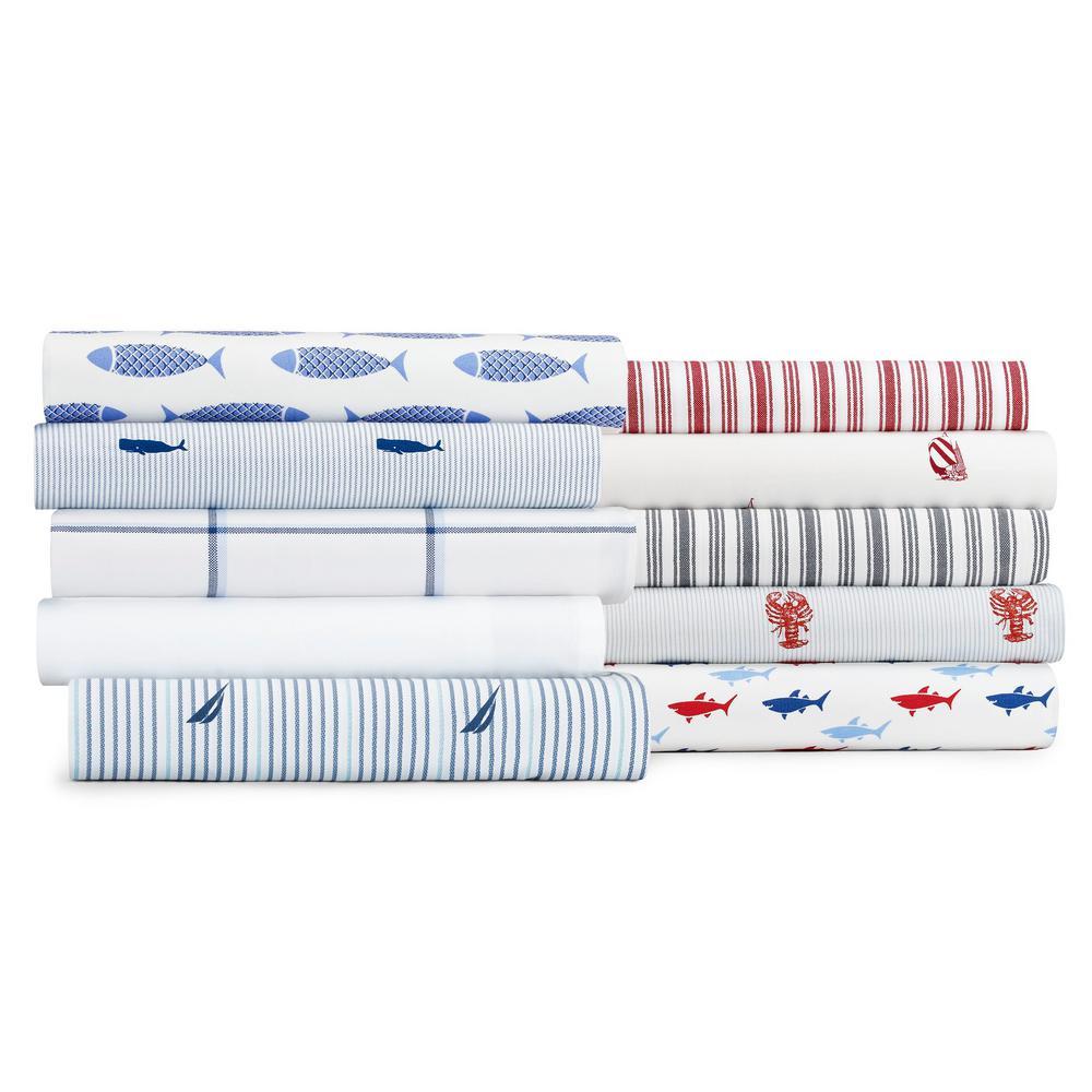Whale Stripe Blue 3-Piece Twin XL Sheet Set