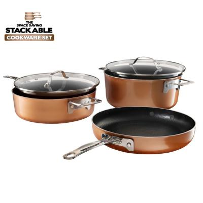 StackMaster 5-Piece Aluminum Ultra-Nonstick Cast Textured Ceramic Coating Cookware Set