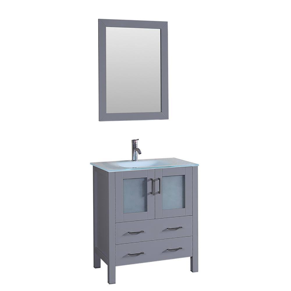 Bosconi Bosconi 30 in. W Single Bath Vanity in Gray with Vanity Top with White Basin and Mirror