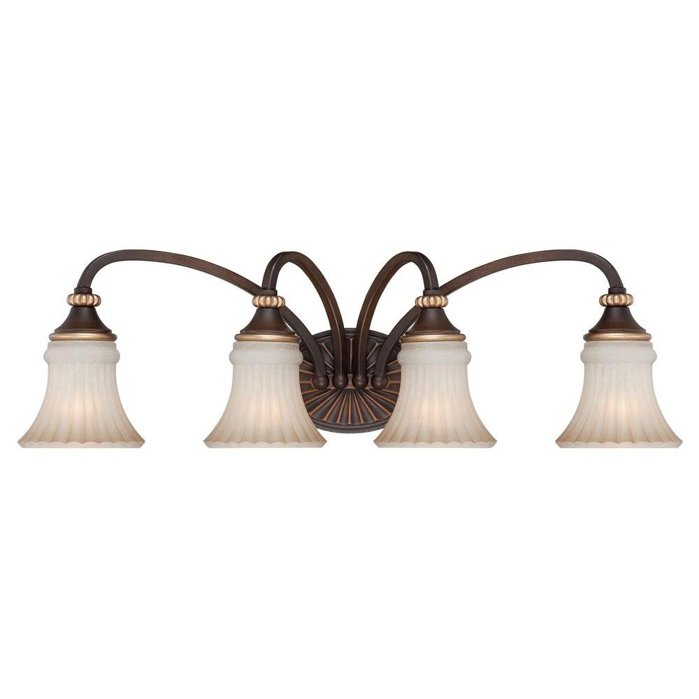 Hampton Bay Reims 4-Light Berre Walnut Vanity Light with Toned ...