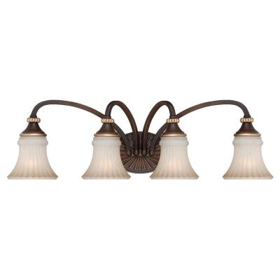 Reims 4-Light Berre Walnut Vanity Light with Toned Driftwood Glass Shades