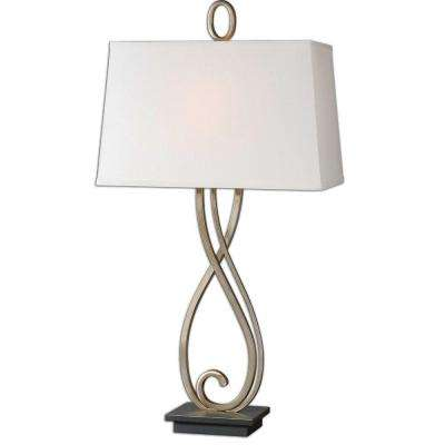 33 in. Antiqued Silver Champagne Table Lamp