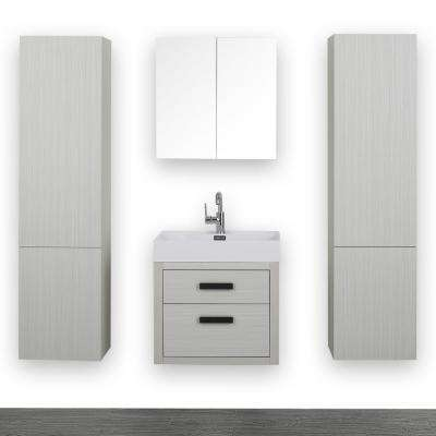 23.6 in. W x 19.3 in. H Bath Vanity in Gray with Resin Vanity Top in White with White Basin and Mirror