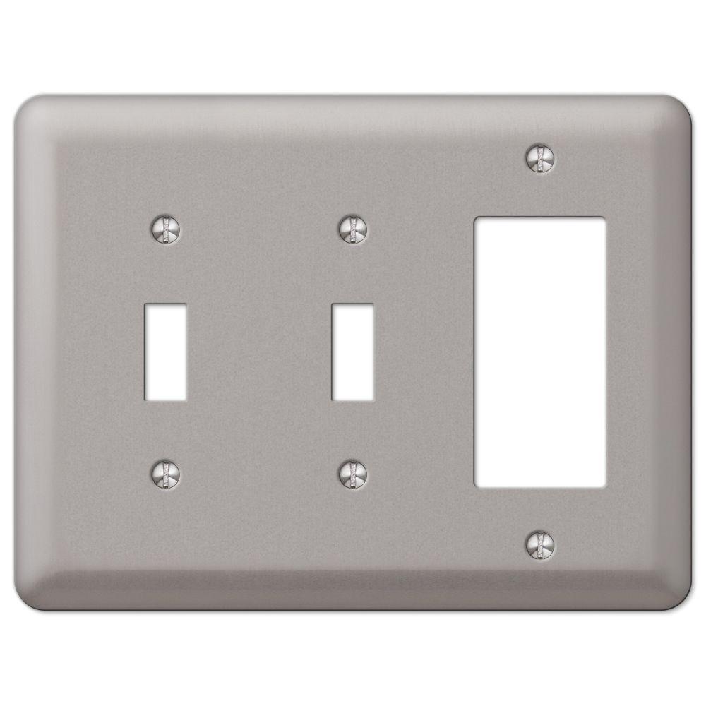 Devon 2 Toggle 1 Decorator Wall Plate - Brushed Nickel