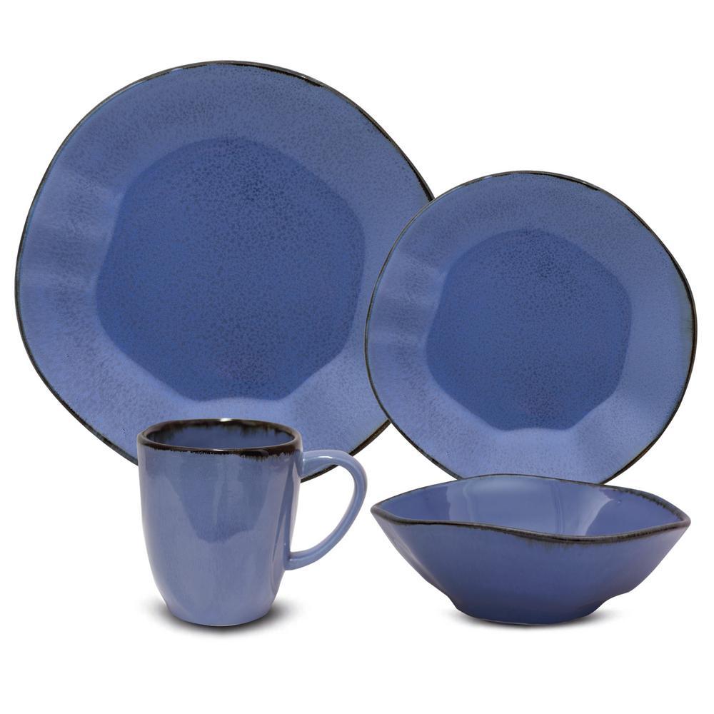 RYO 24-Piece Casual Blue Porcelain Dinnerware Set (Service for 6)
