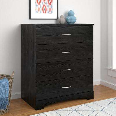 Crescent Point 4-Drawer Black Dresser