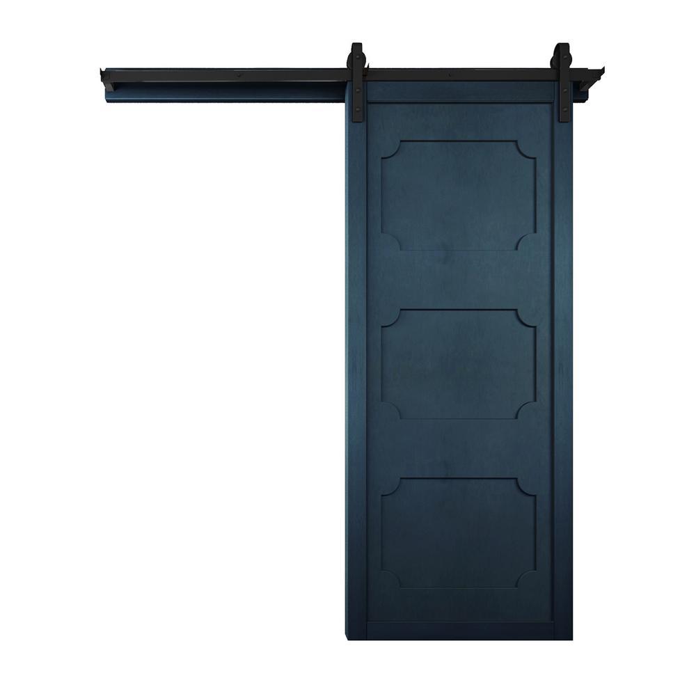 42 in. x 84 in. The Harlow III Admiral Wood Barn Door with Sliding Door Hardware Kit
