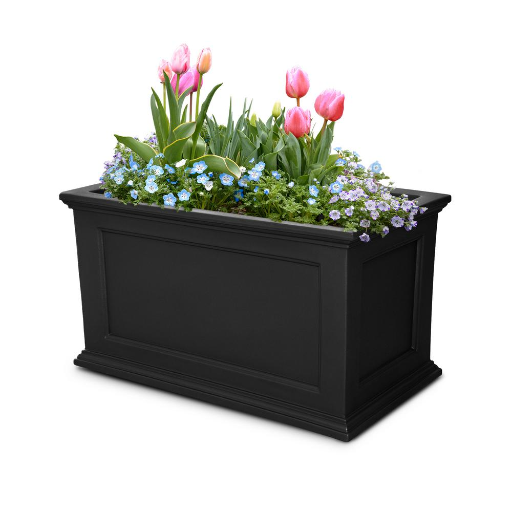 Mayne Self-Watering Fairfield 36 in. x 20 in. Black Plastic Planter