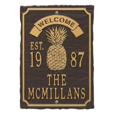 Antebellum Welcome Rectangular Standard Wall 3-Line Anniversary Personalized Plaque in Bronze/Gold