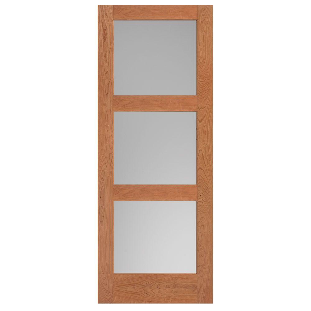 Masonite 40 in. x 84 in. Cherry Veneer 3-Lite Equal Solid Wood Interior Barn Door Slab