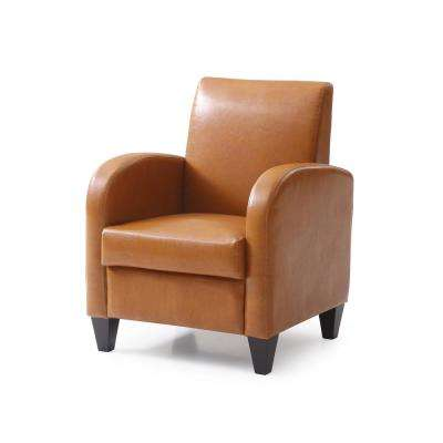 PU Mocha Accent Chair with Solid Wood Legs and Frames