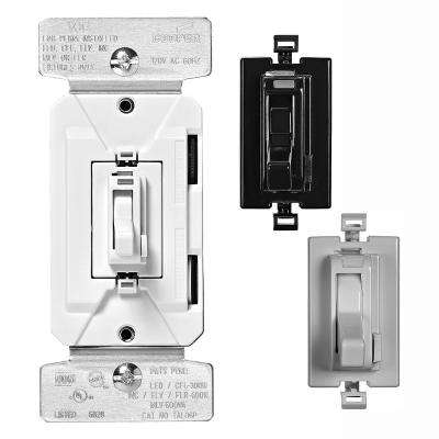 AL Series 300-Watt All Load 3-Way and Single Pole Toggle Dimmer with Preset Color Change Kit, Black/White/Gray
