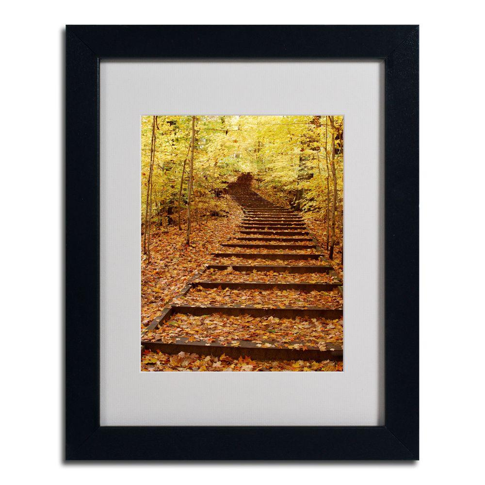 16 in. x 20 in. Fall Stairway Black Framed Matted Art