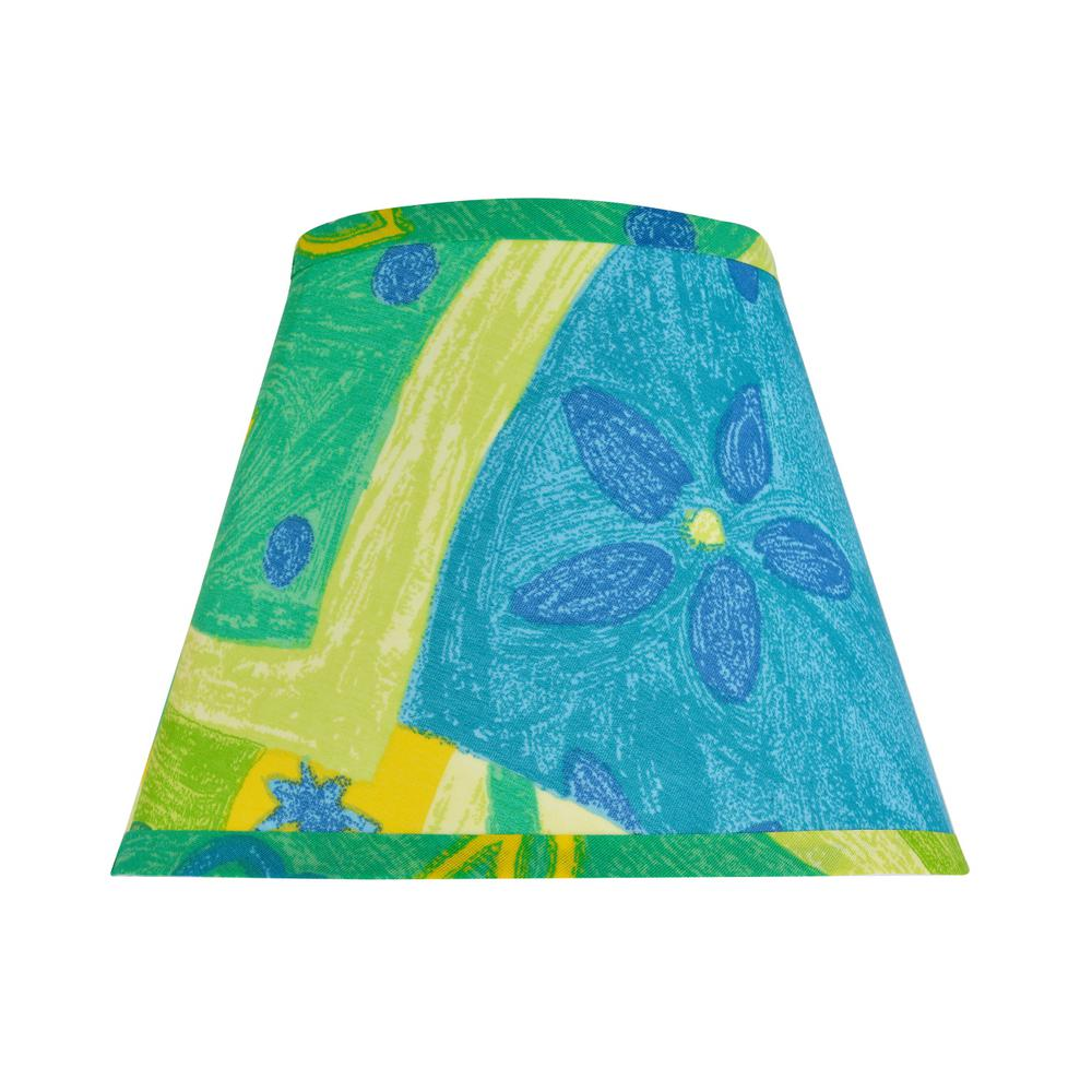 9 in. x 7 in. Blue, Yellow, Green and Print Leaf