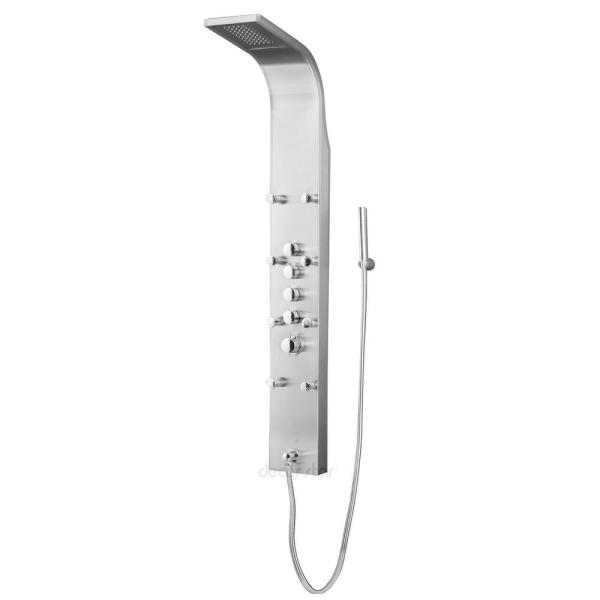 61 in. 8-Jet Full Body Shower System Panel with Rainfall Waterfall Shower Head Hand Shower in Stainless Steel