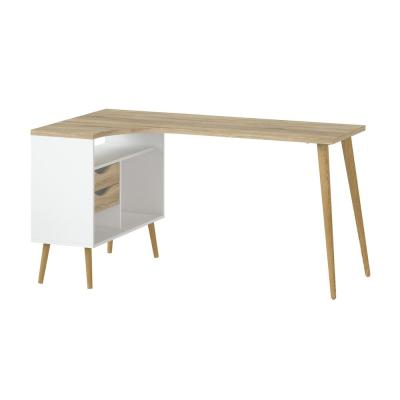 57 in. L-Shaped White/Oak 2 Drawer Computer Desk with Built-In Storage
