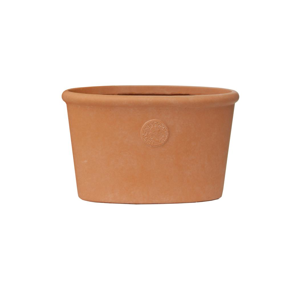 KANTE Large 15 in. Tall Terracota Lightweight Concrete Classic Ellipse Planter