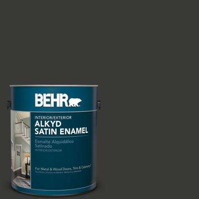1 gal. Home Decorators Collection #HDC-MD-04 Totally Black Satin Enamel Alkyd Interior/Exterior Paint