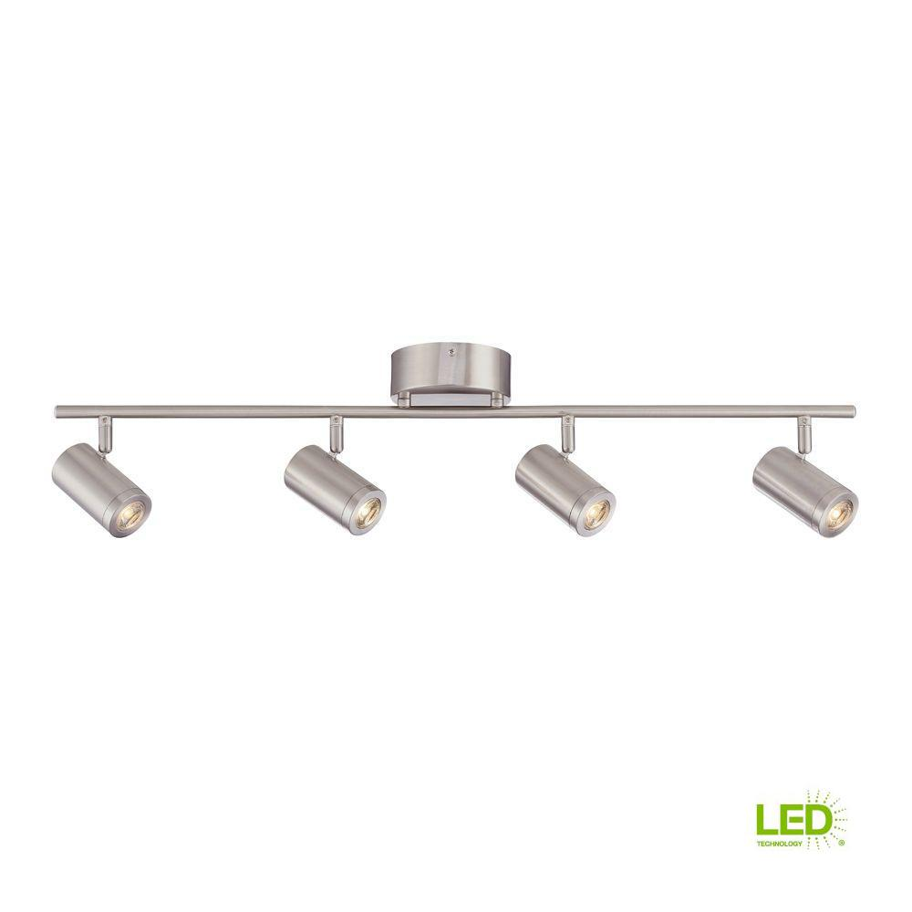 3 ft. Brushed Nickel Integrated LED Track Lighting Kit with 4