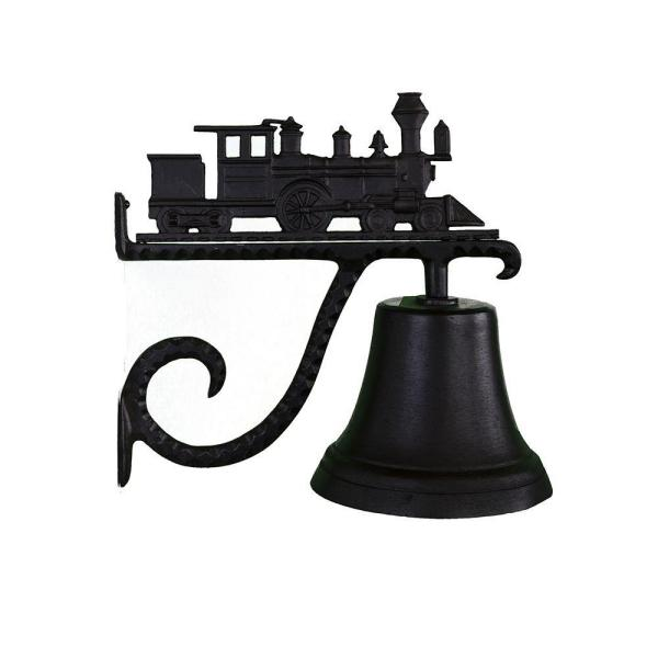 Cast Bell with Black Train Ornament