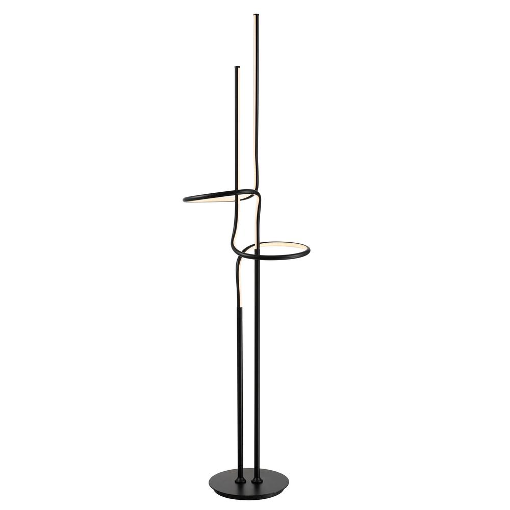 JONATHAN Y Sketch 64 in. Black Minimalist Dimmable Metal Integrated LED Floor Lamp