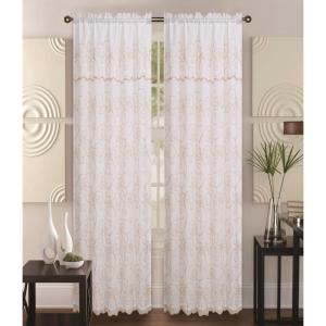 Kashi Home Selma 55 inch x 85 inch Curtain Panel in Beige/Gold by Kashi Home