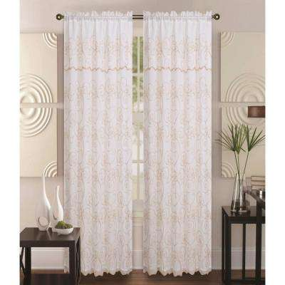 Selma 55 in. x 85 in. Curtain Panel in Beige/Gold