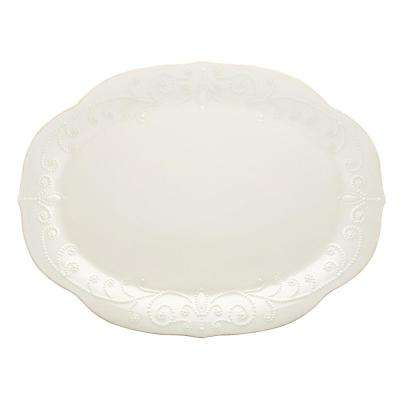 French Perle 16 in. White Oval Platter