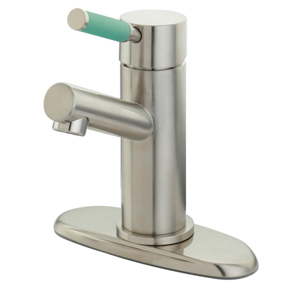 Kingston Brass Green Eden Single Hole Single-Handle Bathroom Faucet in Brushed Nickel