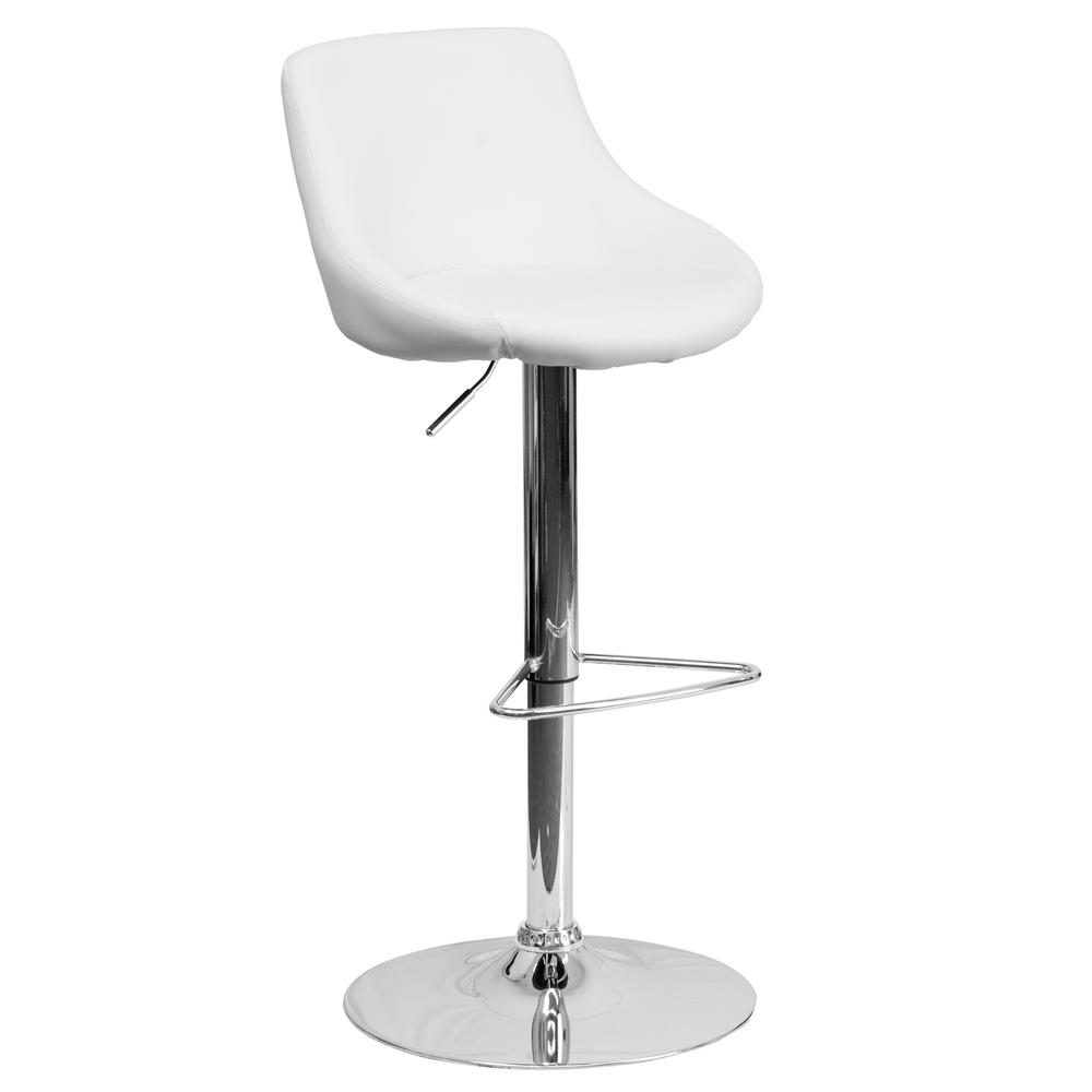 Flash Furniture 32 In Adjustable Height White Cushioned