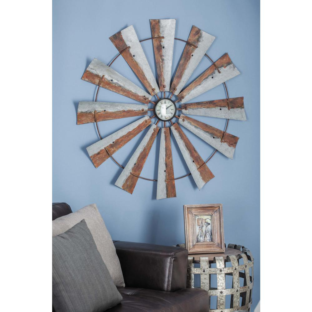 Propeller Wall Clock : In rustic fan propeller iron wall clock the