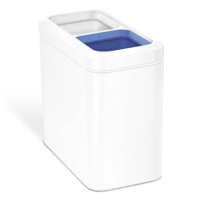 20 l Slim Open Recycling Trash Can in White Steel