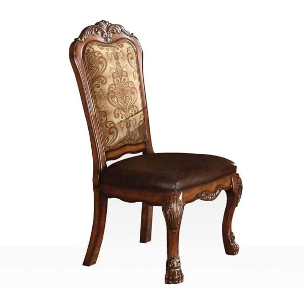 Amelia 2 Pcs. Pu Cherry Oak Wood Poly Resin Upholstery Counter Height Chair