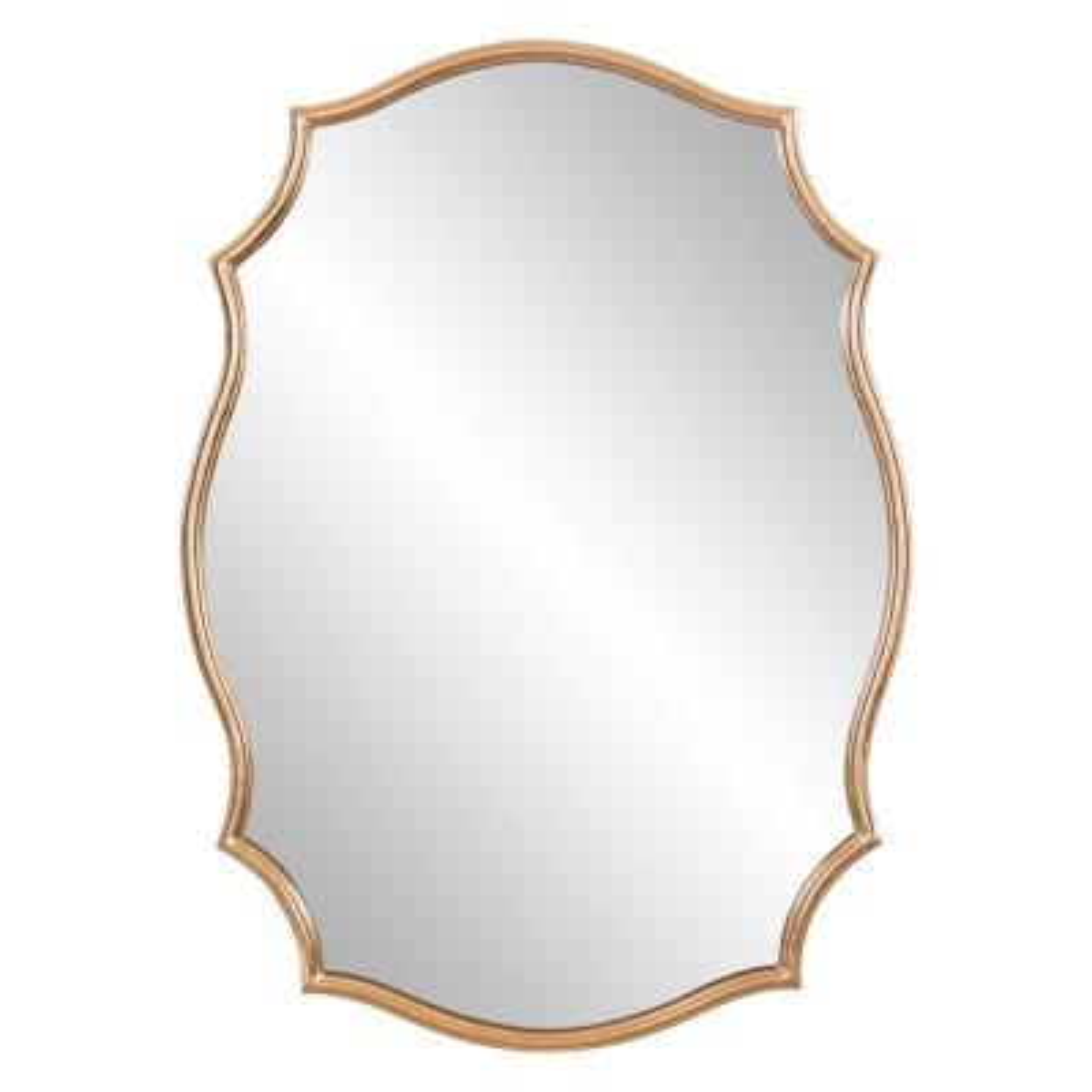 Medium Irregular Gold Hooks Art Deco Mirror (35.75 in. H x 26.25 in. W)