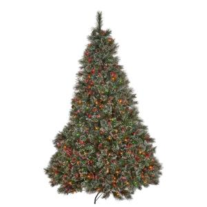 7 ft. Pre-Lit Cashmere Pine Artificial Christmas Tree with Multi-Colored Lights, Snowy Branches and Pinecones