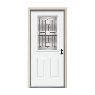 36 in. x 80 in. 1/2 Lite Cordova White Painted Steel Prehung Left-Hand Inswing Front Door w/Brickmould