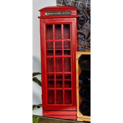 Red London Telephone Booth-Inspired 3-tier CD Cabinet