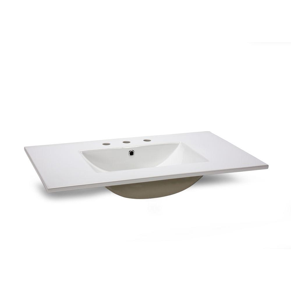 31 In. W China Vanity Top In White With White Basin
