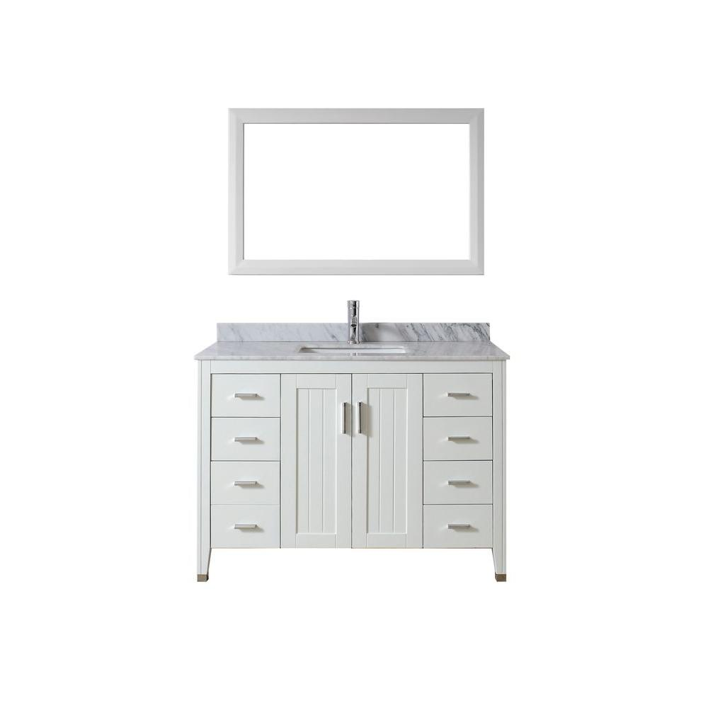 Jackie 48 in. Vanity in White with Marble Vanity Top in