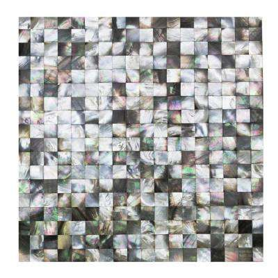 Lokahi Coule Black Squares Pearl Shell Mosaic Tile - 3 in. x 6 in. Tile Sample