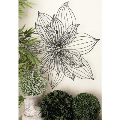 29 in. x 29 in. New Traditional Black Iron Wire Flower Petals Wall Decor