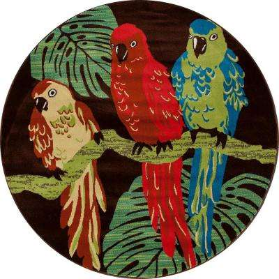 Antigua Parrots Brown 8 ft. x 8 ft. Round Area Rug