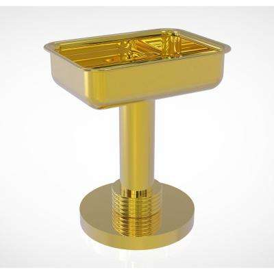 Vanity Top Soap Dish with Groovy Accents in Polished Brass