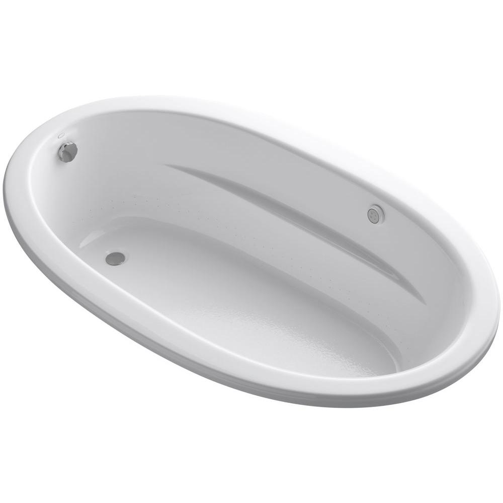 KOHLER Sunward 6 ft. Air Bath Tub in White-K-1164-S1G-0 - The Home Depot