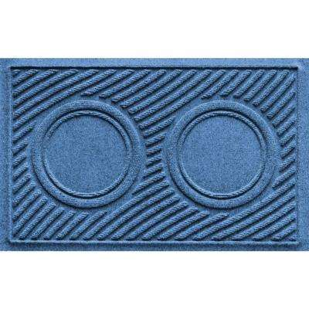 Medium Blue 18 in. x 28 in. Dog Bowl Wave Pet Mat