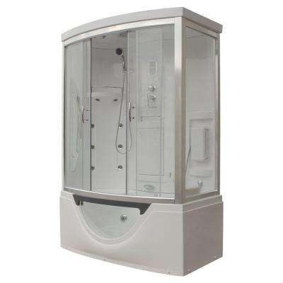 Hudson 59 in. x 33 in. x 88 in. Steam Shower Enclosure Kit with Whirlpool Tub in White